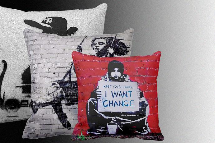 Banksy Throw Pillows