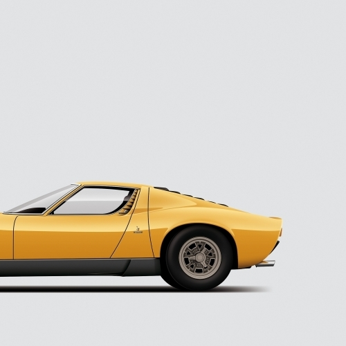 car prints, Lamborghini Miura, luxury car art