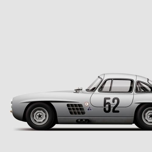 car prints, Mercedes 300SL, luxury car art