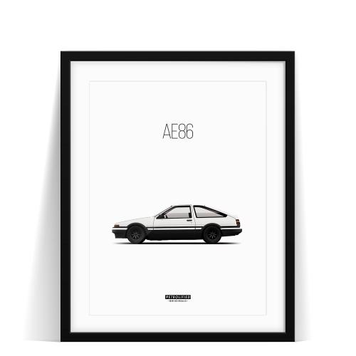 car prints, Toyota AE86, luxury car art