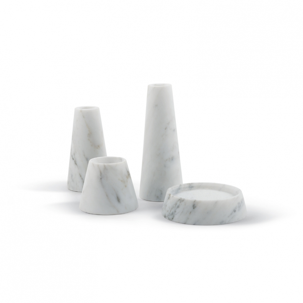Candle Holder-Tellus Candle Holders Carrara Marble | Atipico