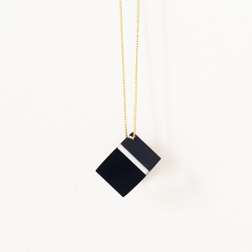 Acrylic Cube Necklace, Black