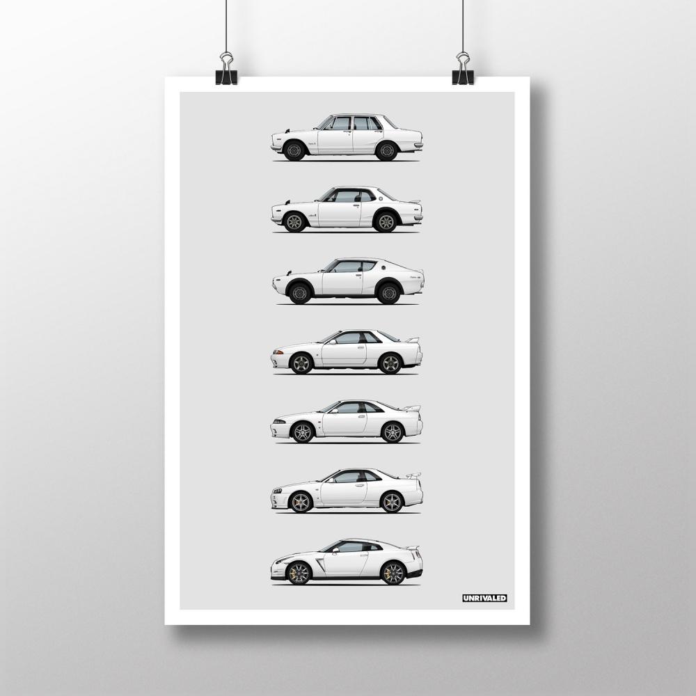Nissan GT-R Generations Print, Unrivaled