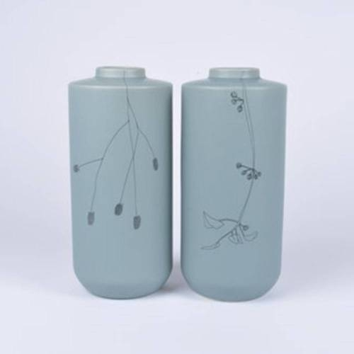 Flor Vase Set of 2, Soft Green