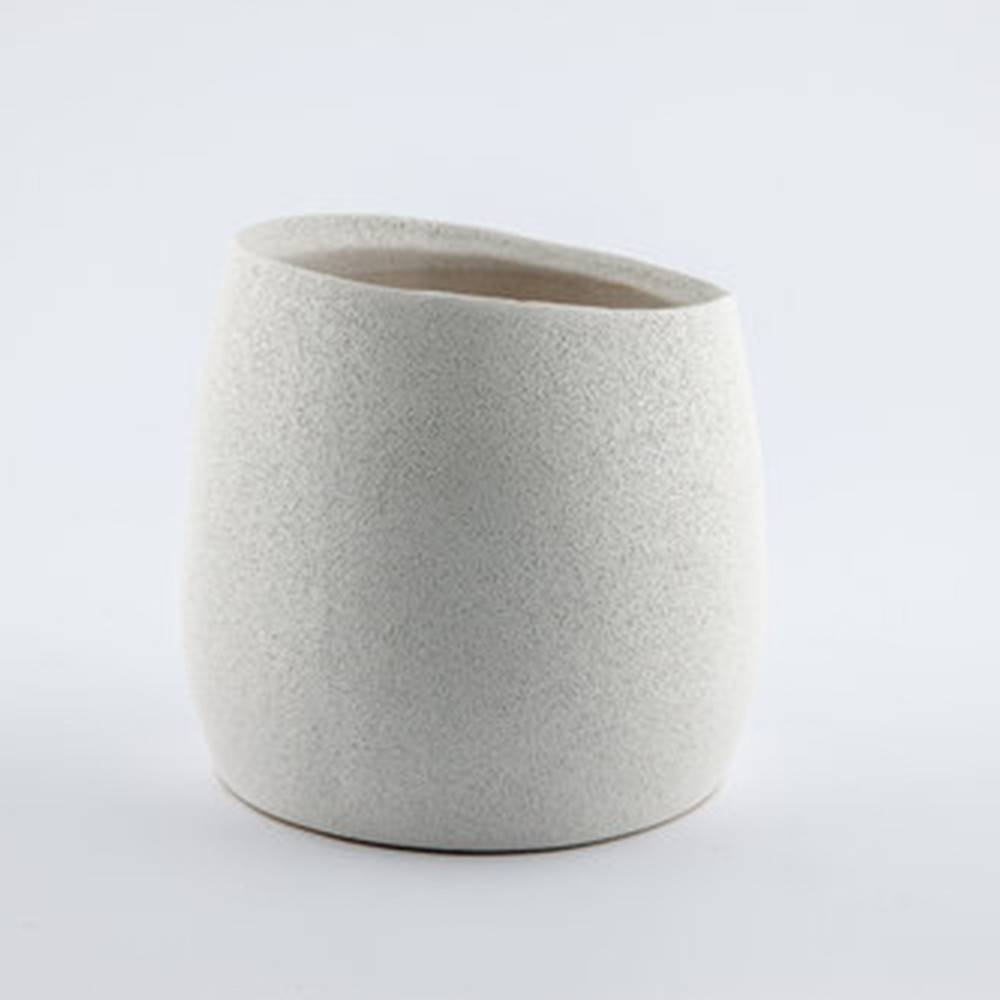 Baz Pot, White - Shiny Round Pot