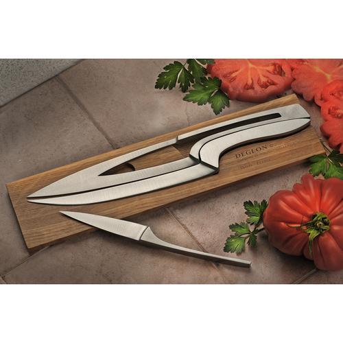 Meeting 3 Knives, Medium Oak - Stainless Steel Knife Set