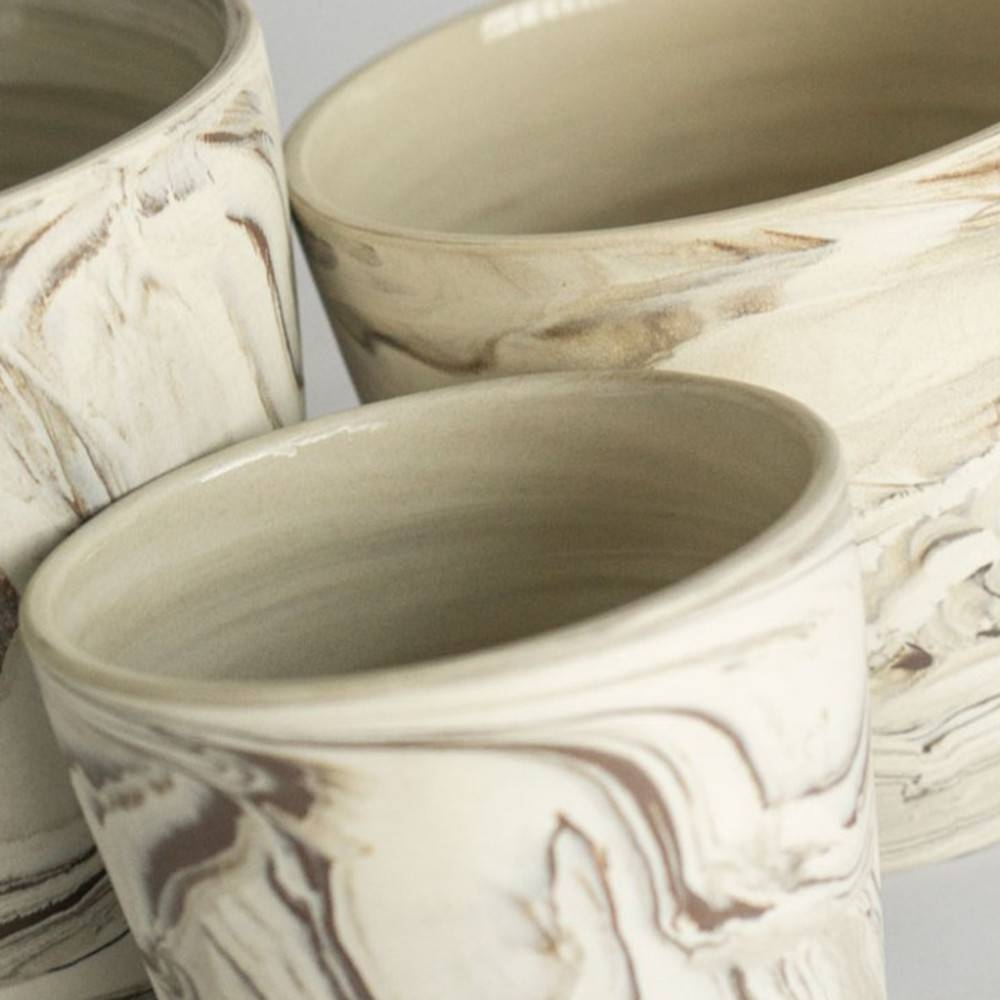 Agateware Cachepot, Set of 3 - A Set of Decorative Bowls Ideal for any Interior Space