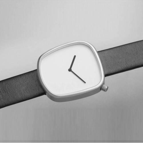 Pebble 02 - Steel Black Leathers Strap Watch