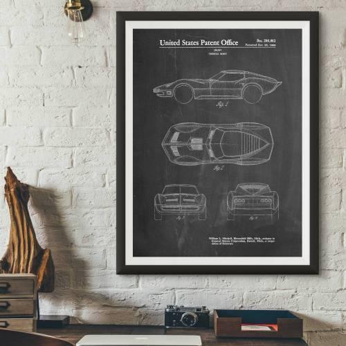 Stingray Corvette Patent Print