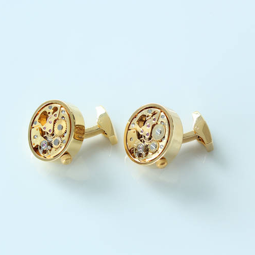 Round Gold - Steel Cufflinks