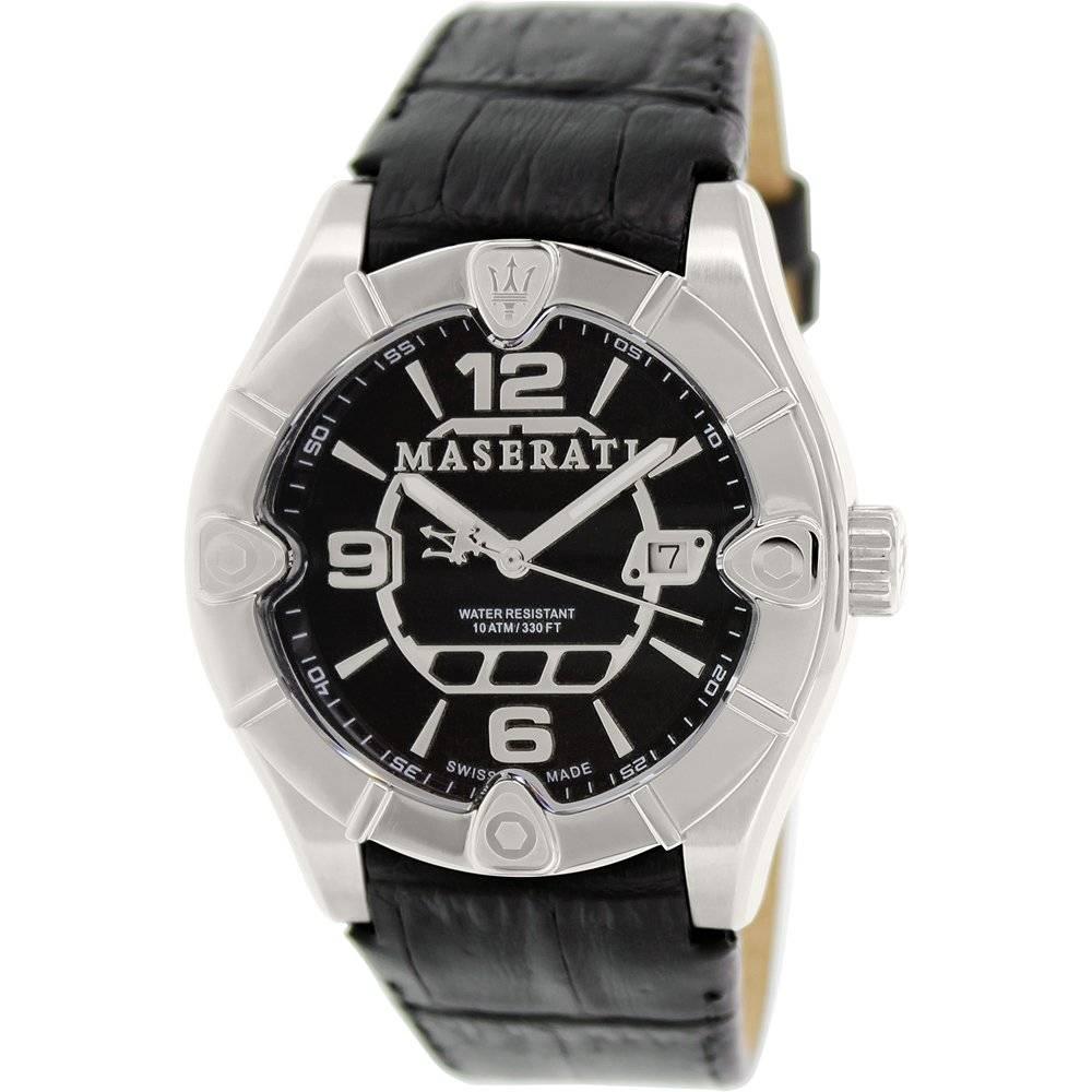 Meccanica Black Leather Swiss Watch - Area Trend