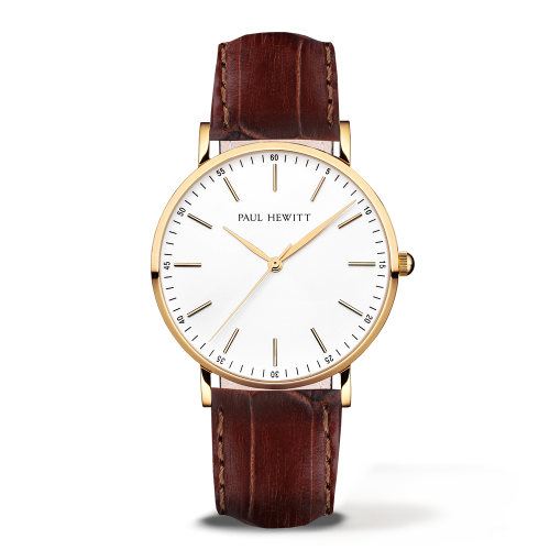 Gold Line Leather Watch, Brown
