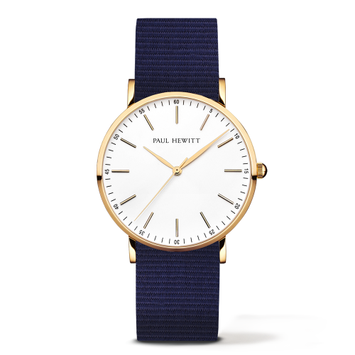 Gold Line Watch, Navy Blue