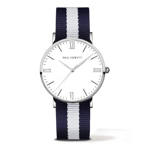 Silver Line Watch, Navy/White
