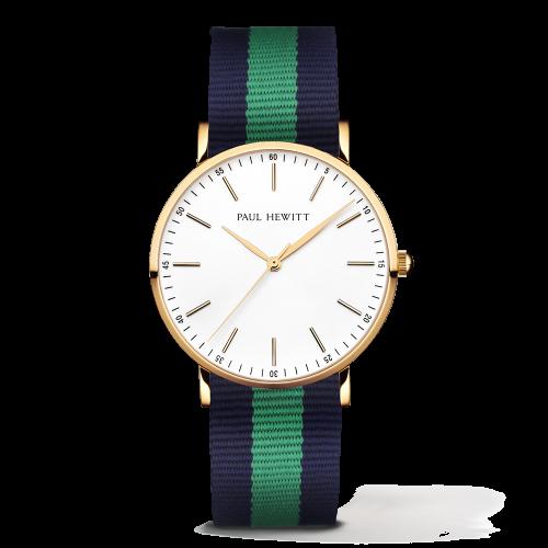 Gold Line Watch, Navy/Green