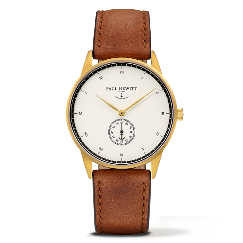 Mark I Leather Watch, White Ocean