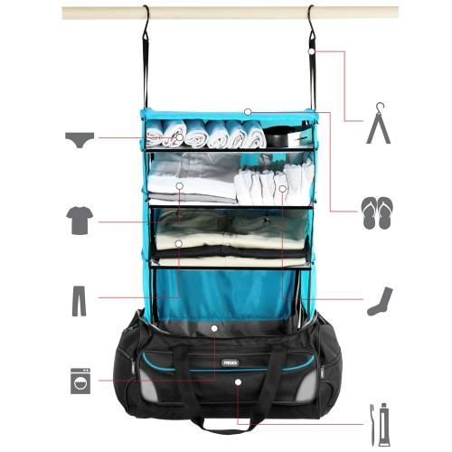 Weekender Duffle Bag with Collapsible Shelves - BLUE