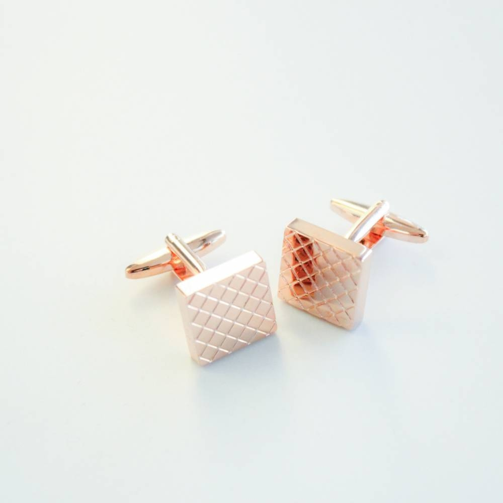 Gold Checkered Cufflink - FlipMyTie