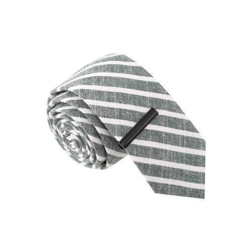Grey & White Striped w/ Tie Bar