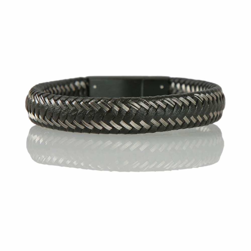 Silver and Black Braided Leather Cord Bracelet - Buttigo