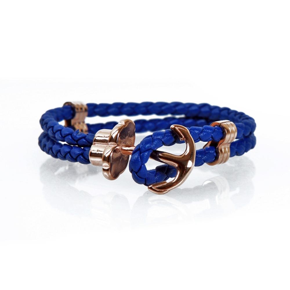 Blue and Rose Erbaa Braided Leather Hook Bracelet - Buttigo