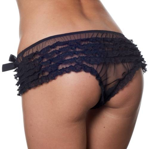 Playful Promises   Black Frilly Brief