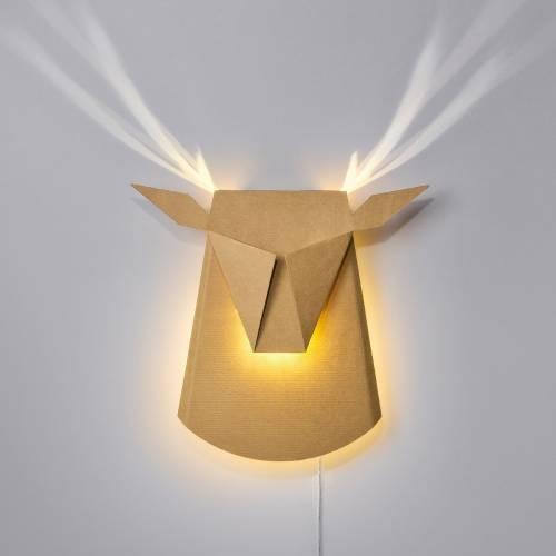 Cardboard Deer Head LED | Plug