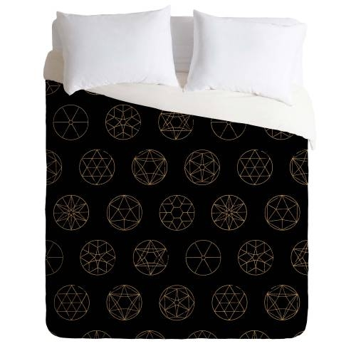 Florent Bodart Geocircles Golden Duvet Cover
