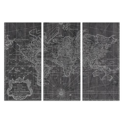 World Map 1778 Triptych | Canvas Art