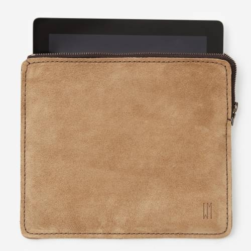 East/West iPad Pouch Suede   Tan