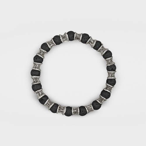 Sterling Silver Bracelet   Lava Beads