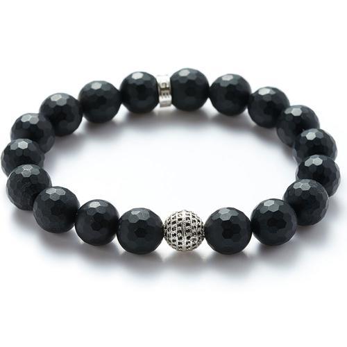 Matte Onyx | Silver Ball Bracelet