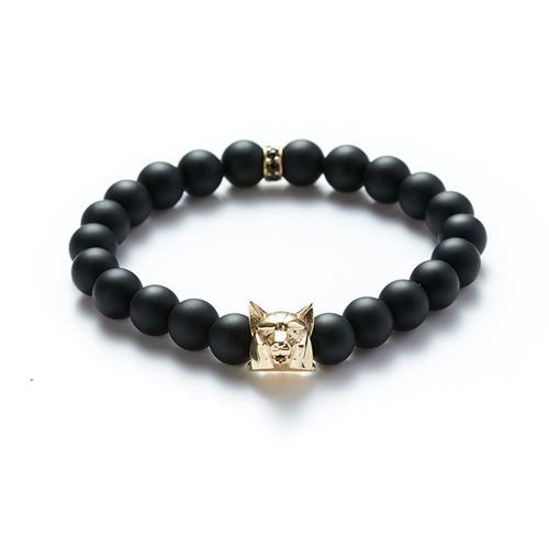 Matte Onyx | Gold Wolf Bracelet