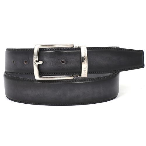 Men's Leather Belt Dual Tone   Gray & Black