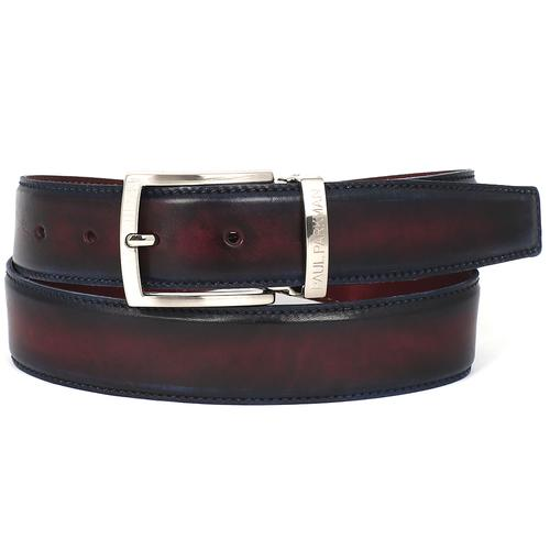 Men's Leather Belt Dual Tone | Navy & Bordeaux
