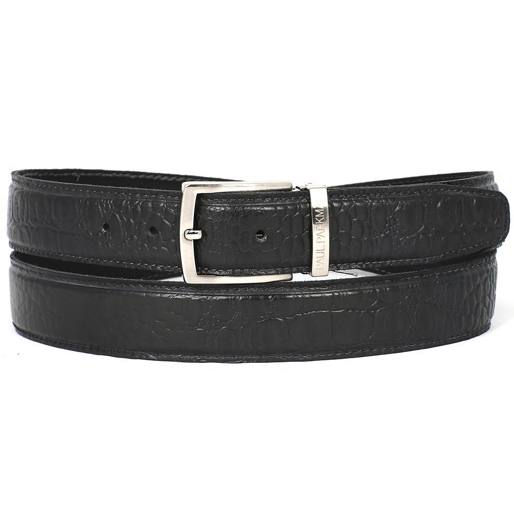 Men's Crocodile Embossed Calfskin Leather Belt | Black