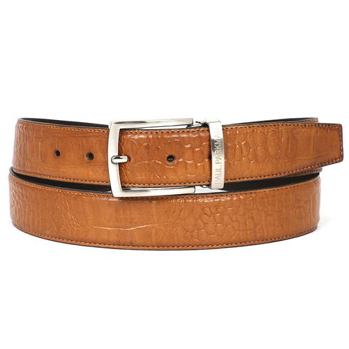 Men's Croc Embossed Calfskin Belt | Camel