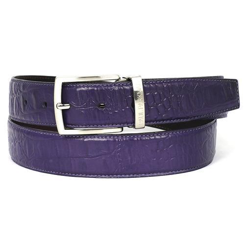 Men's Crocodile Embossed Calfskin Leather Belt | Purple