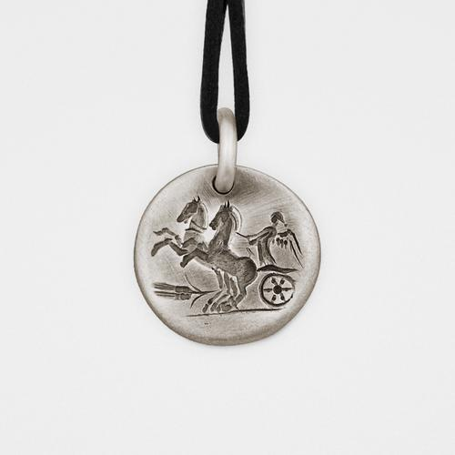 Chariot Pendant | Silver & Leather