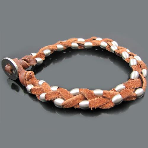 Brown Braided Leather Stainless Steel Bead Bracelet