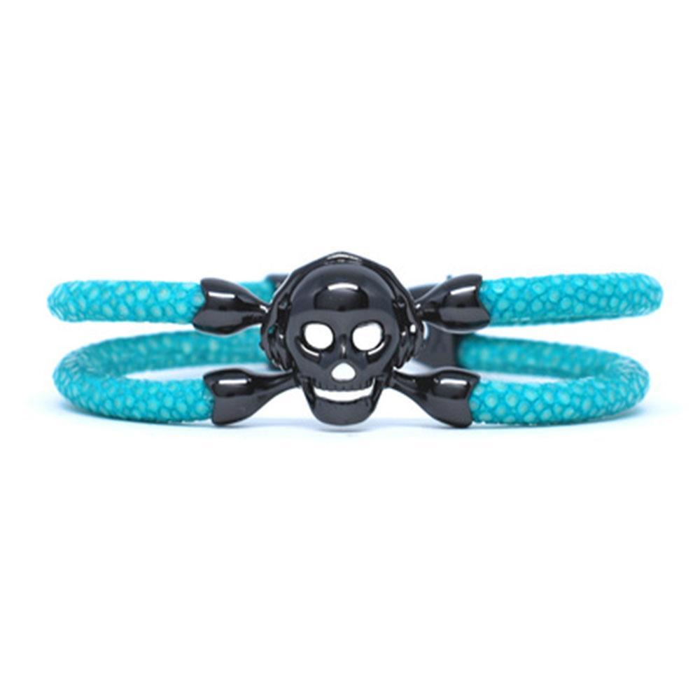 Skull Bracelet | Turquoise with Black Skull | Double Bone