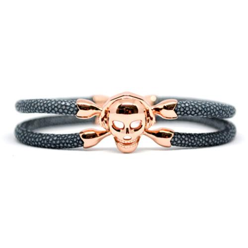 Bracelet | Single Skull | Gray/Rose Gold