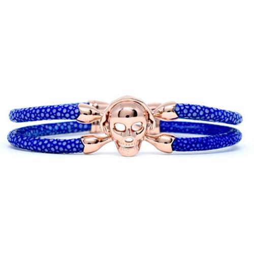 Bracelet | Single Skull | Blue/Rose Gold