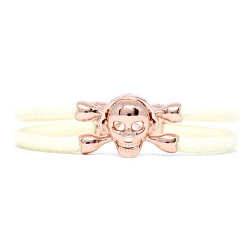 Bracelet | Single Skull | White/Rose Gold