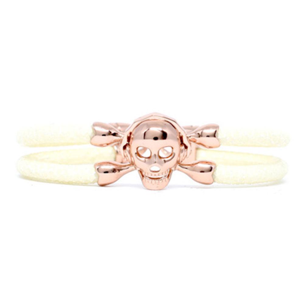 Skull Bracelet   White with Rose Gold Skull   Double Bone