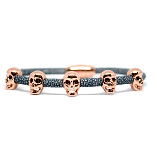 Bracelet | Multi Skull | Gray/Rose Gold