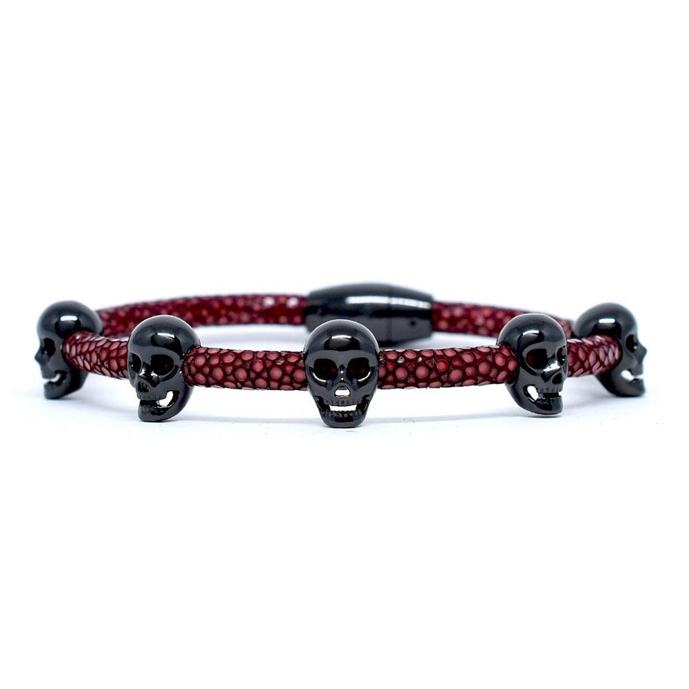 Skull Bracelet   Red Wine with Black Skulls   Double Bone