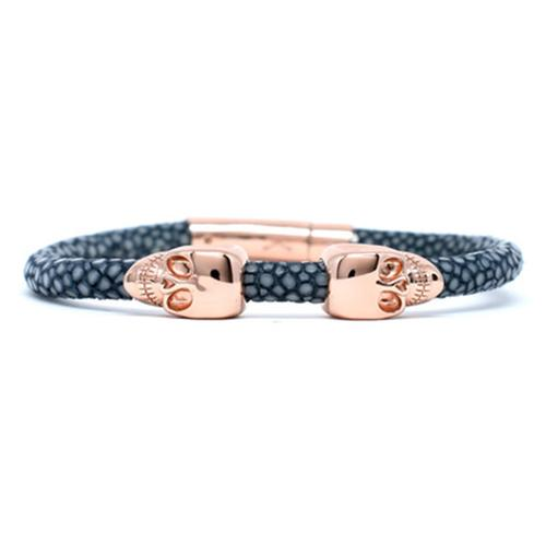 Bracelet | 2 Skulls | Gray/Rose Gold