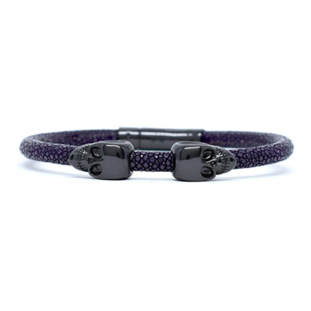Skull Bracelet   Purple   2 Black Skulls   Double Bone