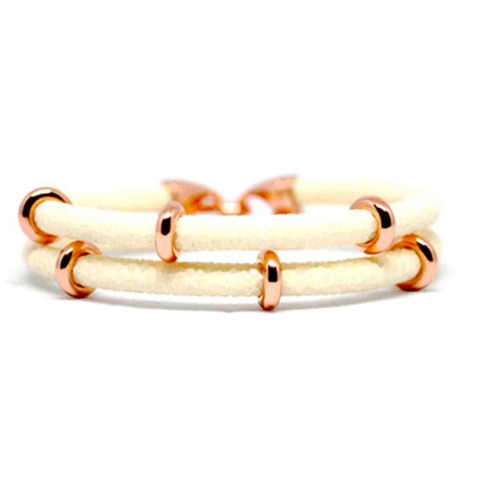 Double Stingray Bracelet | White & Rose Gold | Double Bone